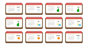 Calendar icon with the name of months, weekdays, weeks, and color picture for each month,   notes Stock Photo