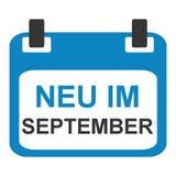 Calendar icon: New in September german. Blue calendar icon showing: New in September in german language vector illustration