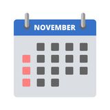 Calendar icon November. Vector illustration Stock Photos