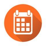 Calendar icon on orange round background, vector illustration. F Royalty Free Stock Image