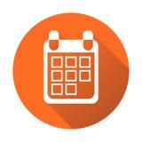 Calendar icon on orange round background, vector illustration. F Stock Photos