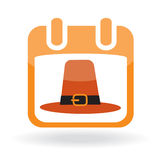 Calendar icon with pilgrim hat Royalty Free Stock Photos