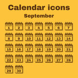 The calendar icon. September symbol. Flat. The calendar icon.  September symbol. Flat Vector illustration. Set Stock Photo