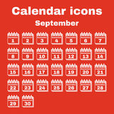The calendar icon. September symbol. Flat. The calendar icon.  September symbol. Flat Vector illustration. Set Stock Images