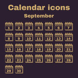 The calendar icon. September symbol. Flat. The calendar icon.  September symbol. Flat Vector illustration. Set Royalty Free Stock Photos