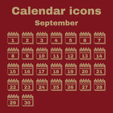 The calendar icon. September symbol. Flat Royalty Free Stock Images