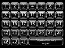 Calendar Icon Set - August. Glossy icon set showing calendar dates for August. Available in jpeg and eps8 Stock Photos