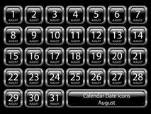 Calendar Icon Set - August Stock Photos