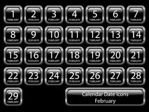 Calendar Icon Set - February Royalty Free Stock Photos