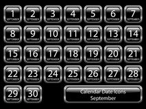 Calendar Icon Set - September Stock Photo