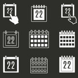Calendar icon set. Calendar vector icons set. White illustration isolated on black background for graphic and web design Stock Image