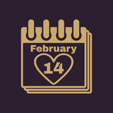 The calendar icon. Valentines day symbol. Royalty Free Stock Photography