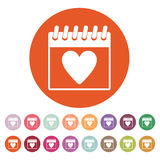 The calendar icon. Valentines day symbol. Royalty Free Stock Photo