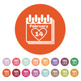 The calendar icon. Valentines day symbol. Royalty Free Stock Photo