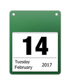 Calendar icon for valentines day on 14th February. Isolated on white background Royalty Free Stock Image