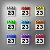 Calendar icon vector set. Of different colors. Isolated on a gray background. Symbol Calendar for your website design, logo, application user interface Royalty Free Stock Photo