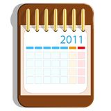 Calendar icon on the wooden base Royalty Free Stock Photography