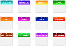 Calendar Icons. Monthly Calendar Icons On A White Background Royalty Free Stock Image