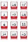 Calendar Icons. Monthly calendar icons set, isolated on white background. Some dates represent most major US holidays (New Year 's Day, Independence Day, etc) Royalty Free Stock Image