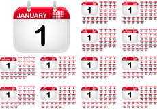 Calendar icons for all monthes of the year Royalty Free Stock Photo
