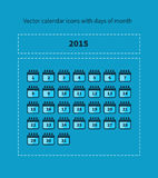 Calendar icons with days of month. Vector calendar icons with days of month Stock Image