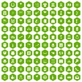 100 calendar icons hexagon green. 100 calendar icons set in green hexagon isolated vector illustration Stock Illustration