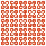 100 calendar icons hexagon orange. 100 calendar icons set in orange hexagon isolated vector illustration vector illustration