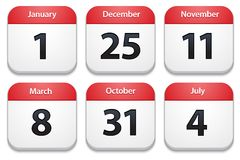 Calendar icons with holiday dates Stock Image