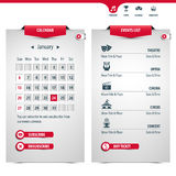 Calendar and icons Royalty Free Stock Photography