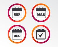 Calendar icons. September, March, December. Calendar icons. September, March and December month symbols. Check or Tick sign. Date or event reminder. Infographic Royalty Free Stock Photo