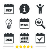 Calendar icons. September, March, December. Royalty Free Stock Photos