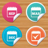 Calendar icons. September, March, December. Royalty Free Stock Photo