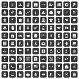 100 calendar icons set black. 100 calendar icons set in black color isolated vector illustration Royalty Free Stock Photos