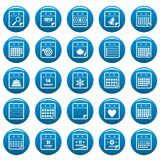 Calendar vector icons set blue, simple style. Calendar icons set blue. Simple illustration of 25 calendar vector icons for web Royalty Free Stock Photo