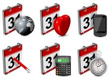 Calendar icons set. A collection of six 3d calendar icons on the white background Royalty Free Stock Image