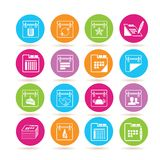 Calendar icons. Set of 16 calendar icons in colorful buttons Royalty Free Stock Photos