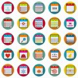 Calendar icons set, flat style. Calendar icons set. Flat illustration of 25 calendar vector icons circle isolated on white Royalty Free Stock Image