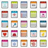 Calendar icons set, flat style. Calendar icons set. Flat illustration of 25 calendar vector icons isolated on white background Royalty Free Stock Images