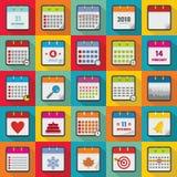 Calendar icons set, flat style. Calendar icons set. Flat illustration of 25 calendar vector icons for web Royalty Free Stock Image