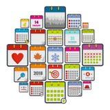 Calendar icons set, flat style. Calendar icons set. Flat illustration of 25 calendar vector icons isolated on white background Royalty Free Stock Photography