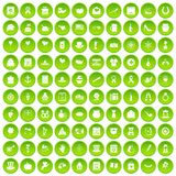 100 calendar icons set green circle. Isolated on white background vector illustration Royalty Free Stock Photography