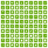100 calendar icons set grunge green Royalty Free Stock Photo