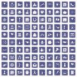 100 calendar icons set grunge sapphire. 100 calendar icons set in grunge style sapphire color isolated on white background vector illustration Royalty Free Stock Images
