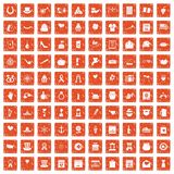 100 calendar icons set grunge orange. 100 calendar icons set in grunge style orange color isolated on white background vector illustration vector illustration