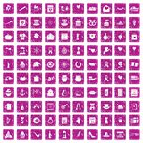100 calendar icons set grunge pink. 100 calendar icons set in grunge style pink color isolated on white background vector illustration Royalty Free Stock Photos
