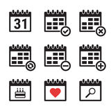 Calendar icons set. Set of isolated, simple icons on a theme calendar stock illustration