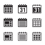 Calendar icons set. Set of isolated, simple icons on a theme calendar vector illustration