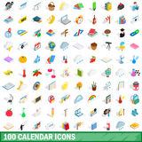 100 calendar icons set, isometric 3d style. 100 calendar icons set in isometric 3d style for any design vector illustration vector illustration