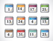 Calendar Icons Set Stock Photo