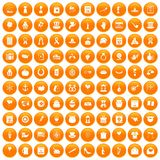 100 calendar icons set orange. 100 calendar icons set in orange circle isolated on white vector illustration Royalty Free Stock Image